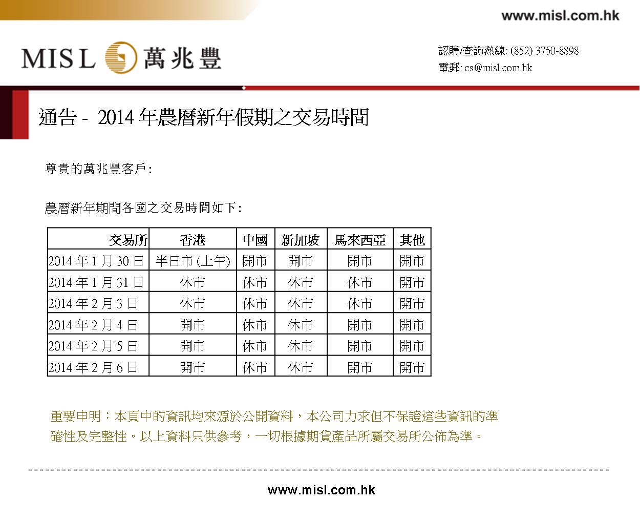 2014 Lunar New Year Holidays Tradding Hours